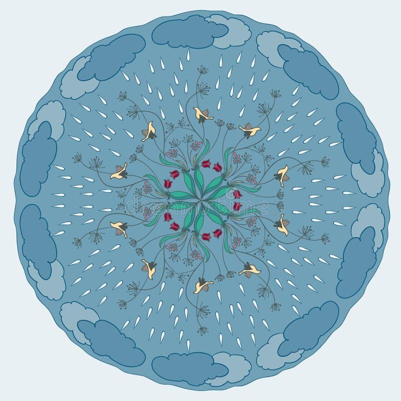 Rysunku ornamentacyjny abstrakcjonistyczny tło z kwiatami, ptakami, raindrops i chmurami, ilustracji