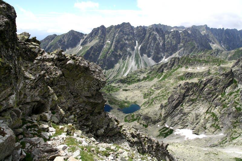 从Rysy峰顶的看法在Tatry山 库存照片