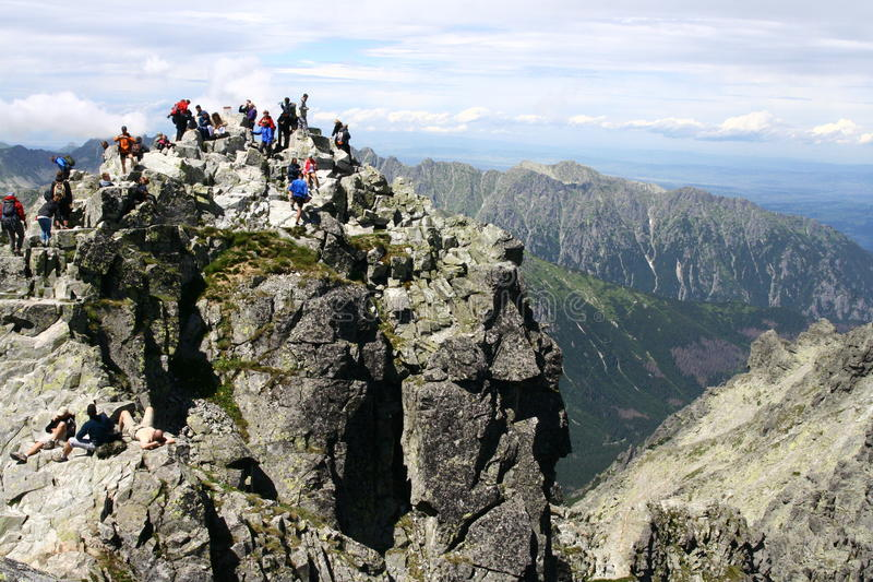 Rysy peak in Tatry mountains. In Poland stock photo