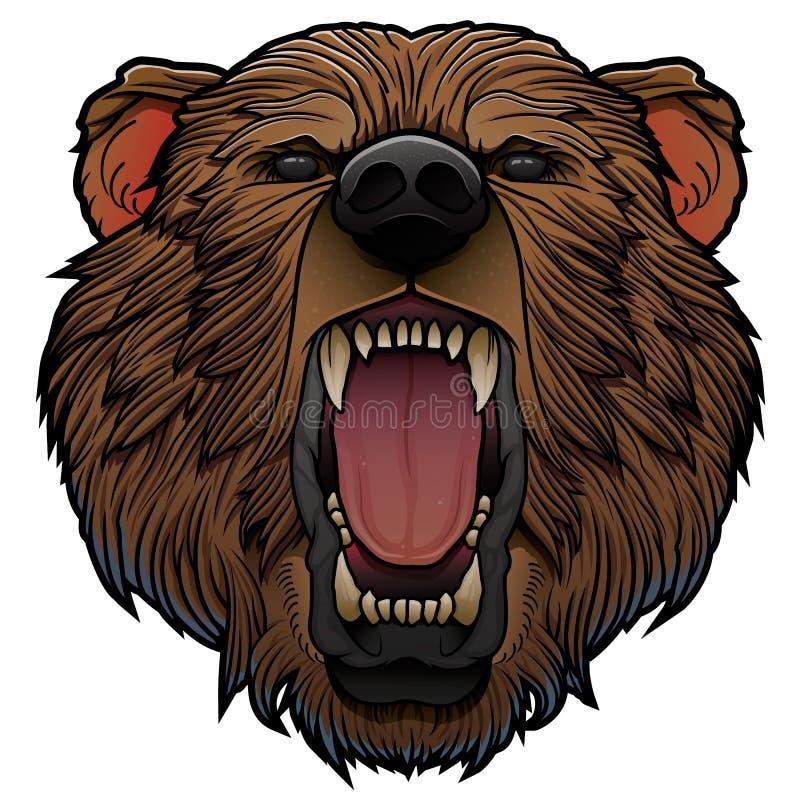 Rytande björnhuvud vektor illustrationer