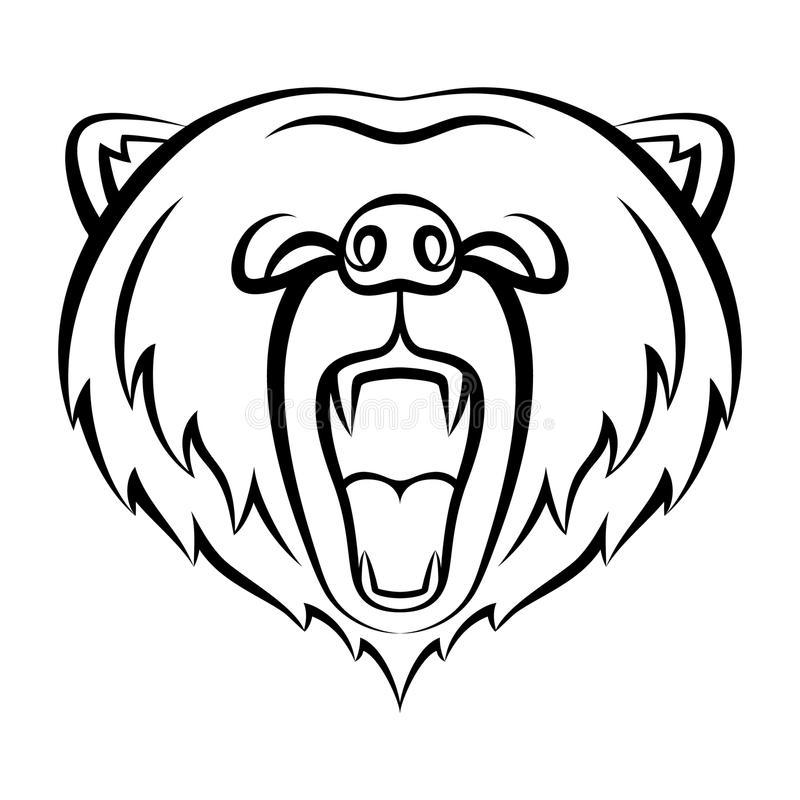 Rytande björnsymbol som isoleras på en vit bakgrund vektor illustrationer