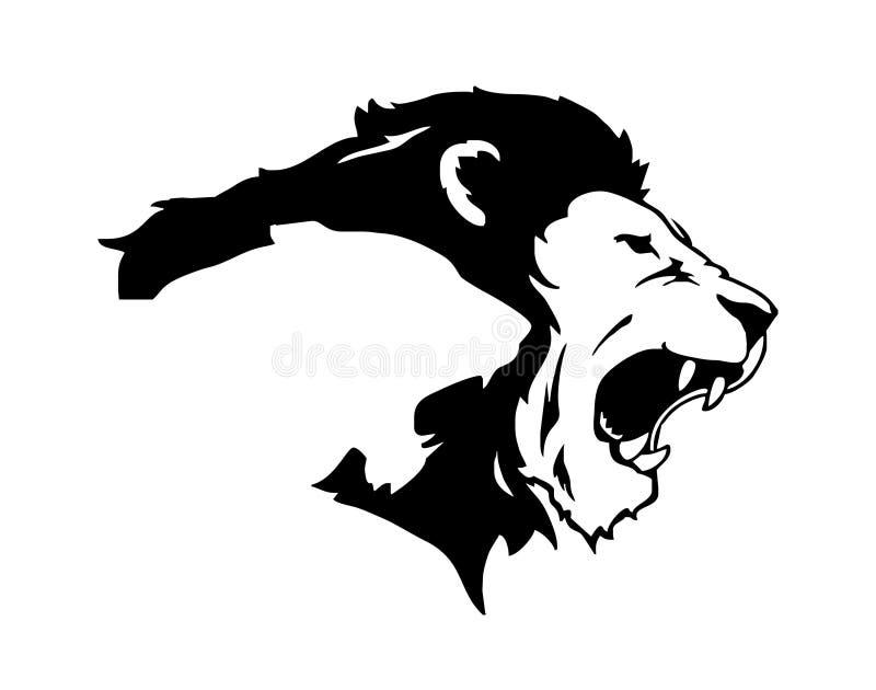 Rytande huvud för lejontiger stock illustrationer