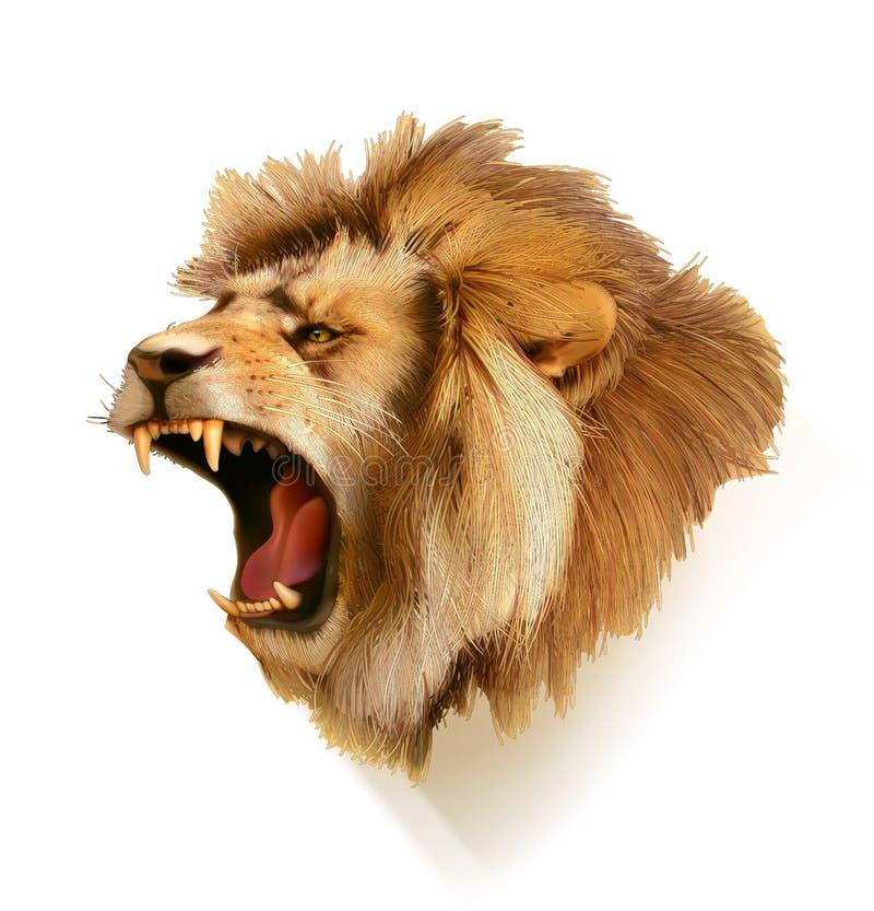 Rytande lejonhuvud stock illustrationer