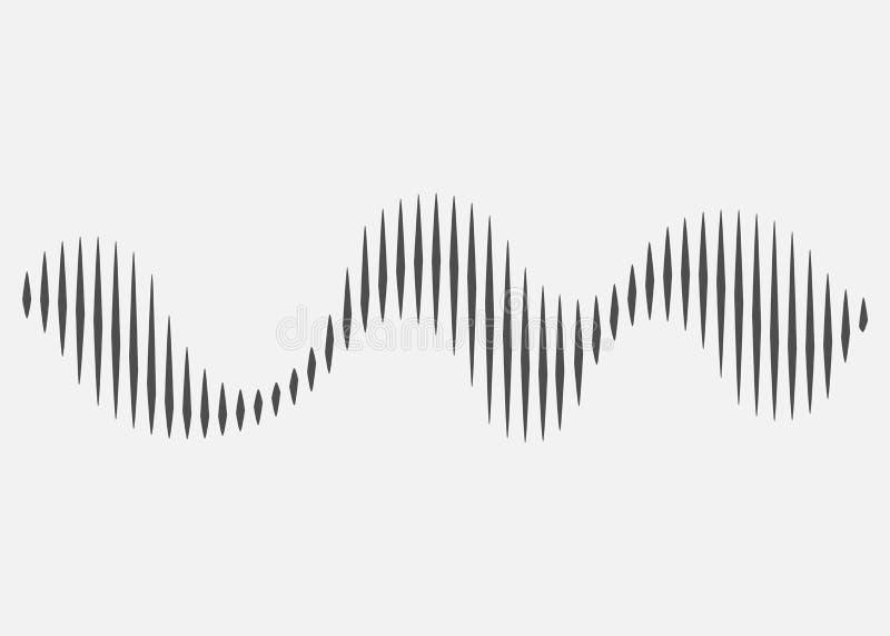 Rythme d'onde sonore Onde sonore d'isolement sur le fond blanc Illustration de vecteur illustration de vecteur