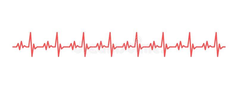 Rythme de coeur cardiogram D'isolement sur le fond blanc graphisme illustration stock