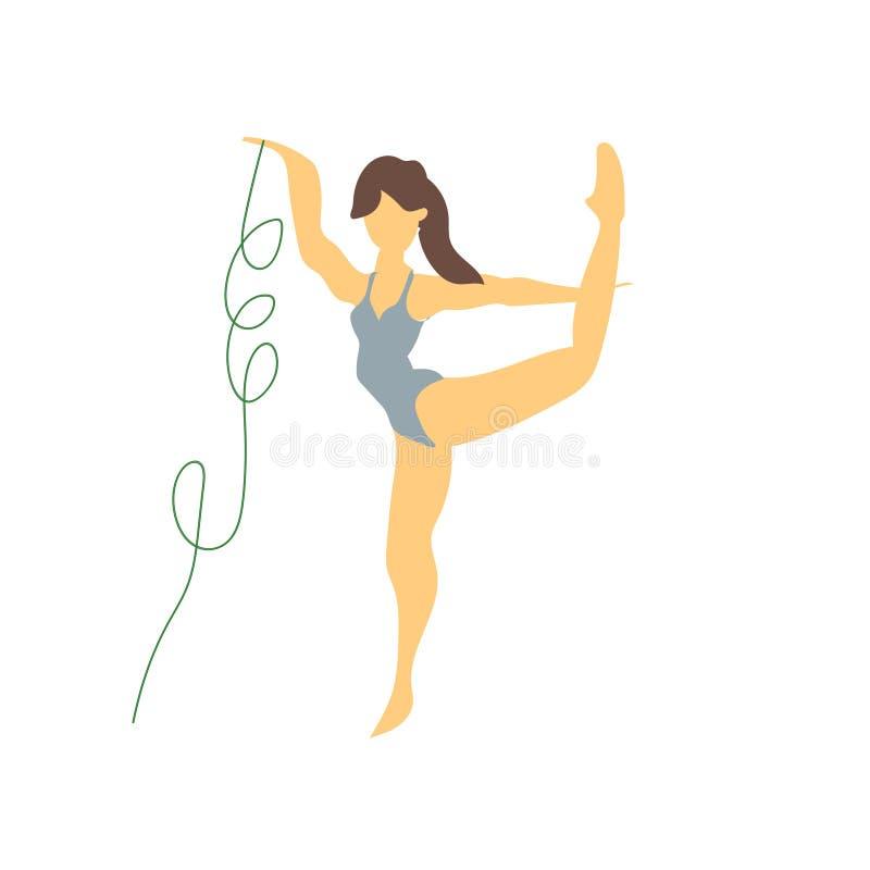 rytmicznej gimnastyki wektoru wektorowy znak i symbol odizolowywający na białym tle, rytmicznej gimnastyki logo wektorowy pojęcie ilustracja wektor