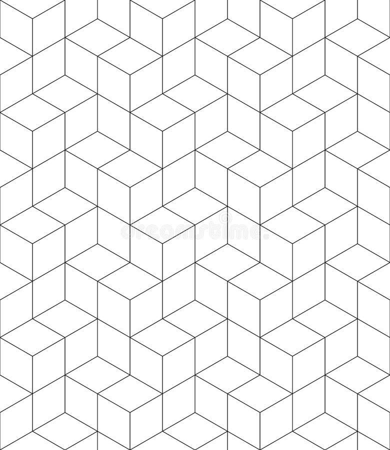 Rytmiczny kontrast textured niekończący się wzór z sześcianami, ciągłymi royalty ilustracja