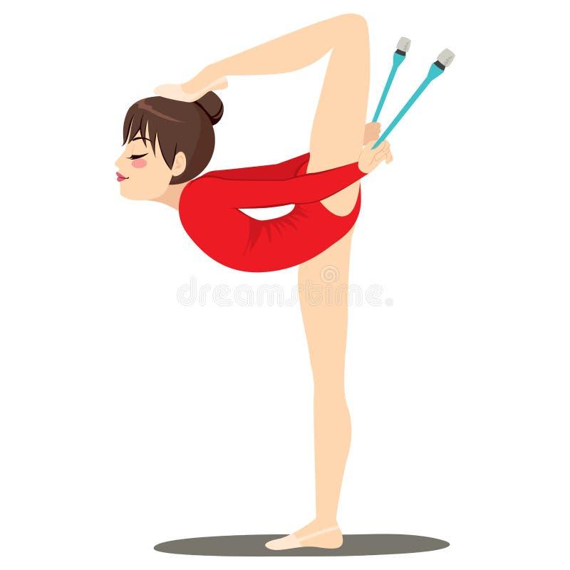 Rytmicznych klubów Elastyczna kobieta ilustracji