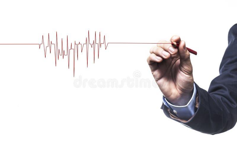 rytmu ekg wykresu serca czerwień obraz stock