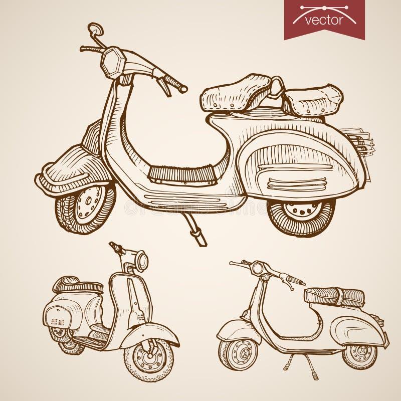 Rytownictwa moped hulajnoga rocznik rysujący wektorowy trans royalty ilustracja