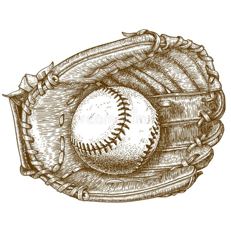 Rytownictwo ilustracja baseball piłka i rękawiczka ilustracja wektor