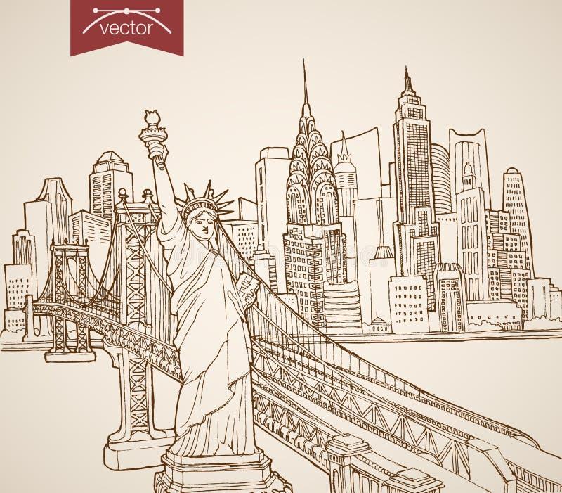 Rytownictwo rocznik ręka rysujący wektorowy Stany Zjednoczone royalty ilustracja