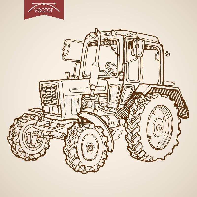 Rytownictwo rocznika ciągnika ręka rysujący wektorowy gospodarstwo rolne S ilustracji