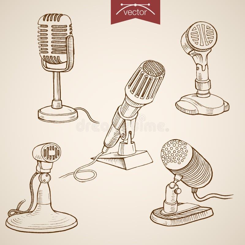 Rytownictwo rocznika nagrania ręka rysujący wektorowy micr royalty ilustracja