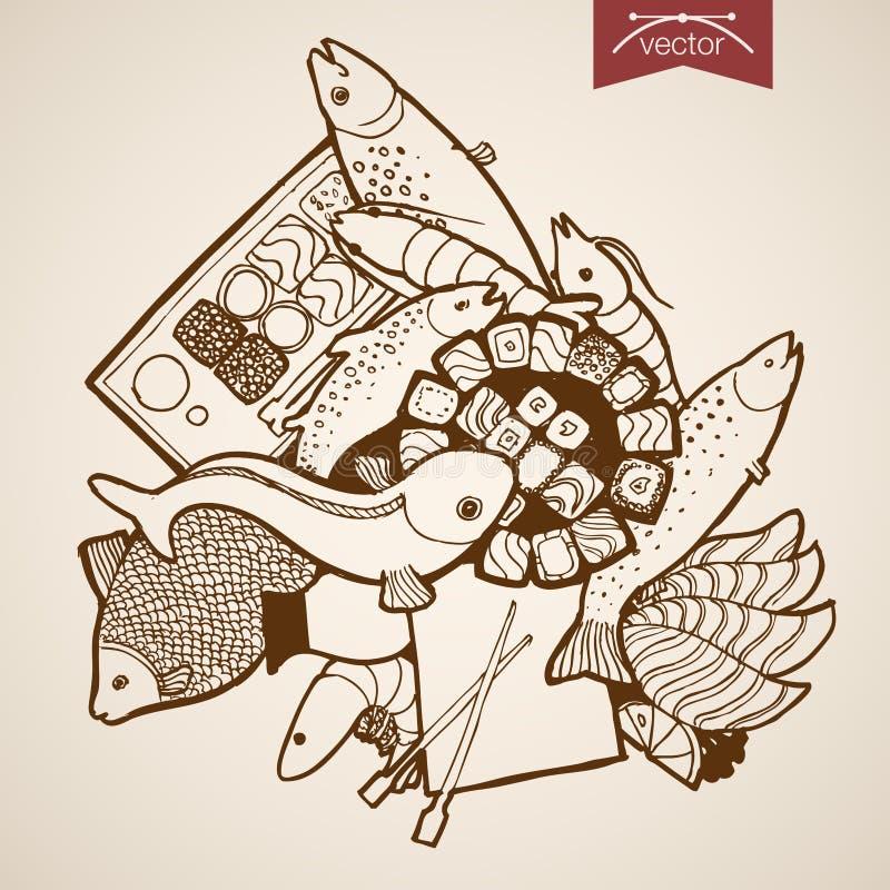 Rytownictwo rocznika ręki wektoru ryba suszi krewetkowy ro ilustracja wektor