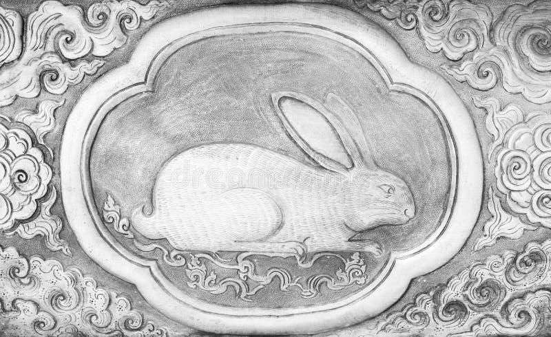 Rytownictwo srebna wartość, zodiaka tajlandzki tradycyjny symbol, królik zdjęcie royalty free
