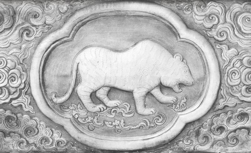 Rytownictwo srebna wartość, zodiaka tajlandzki tradycyjny symbol, tygrys zdjęcia royalty free
