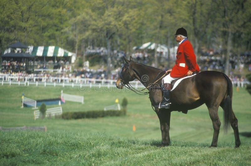 Ryttaren på hästrygg observera hinderlöpningfältet, den Prind hinderlöpningen Glenwood parkerar, Middleburg, Virginia royaltyfria bilder