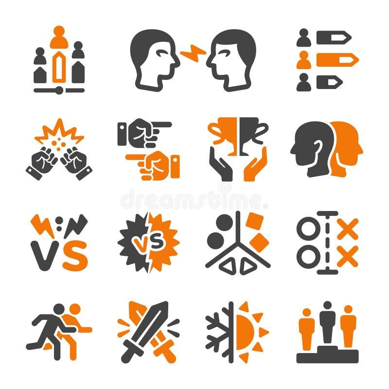 Rywalizujący ikona set ilustracja wektor