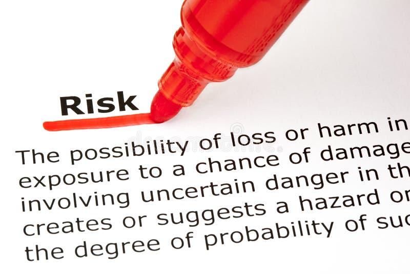 Ryzyko definicja zdjęcie stock