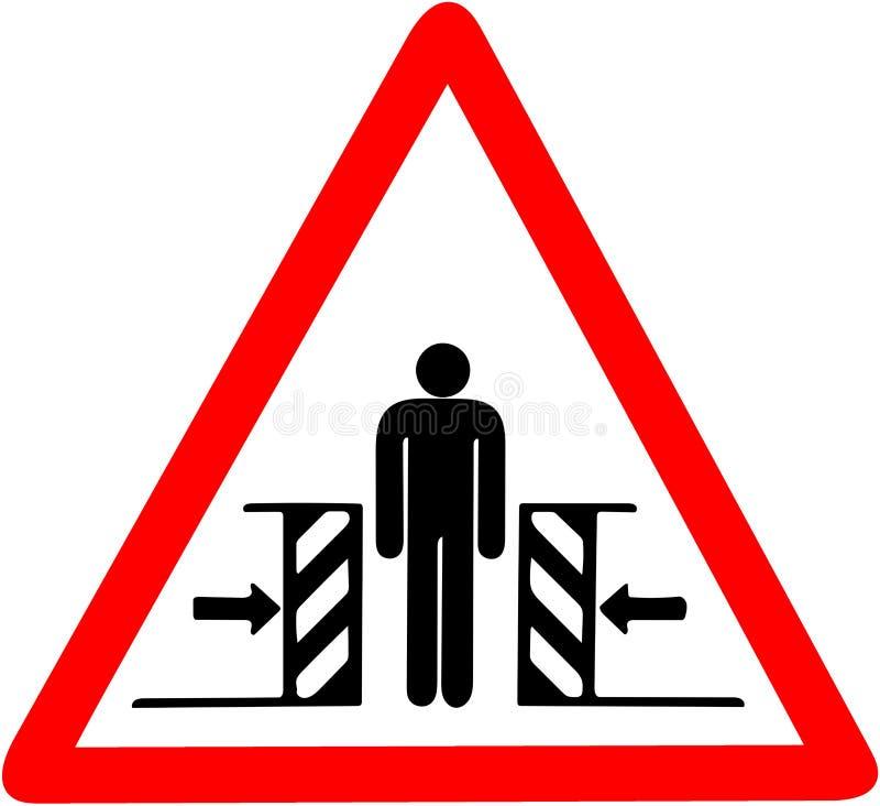 ryzyko gnieść automatycznego drzwi może uderzać ciebie był carefull ostrzeżeniem Czerwony trójgraniasty ostrzegawczego symbolu zn ilustracja wektor