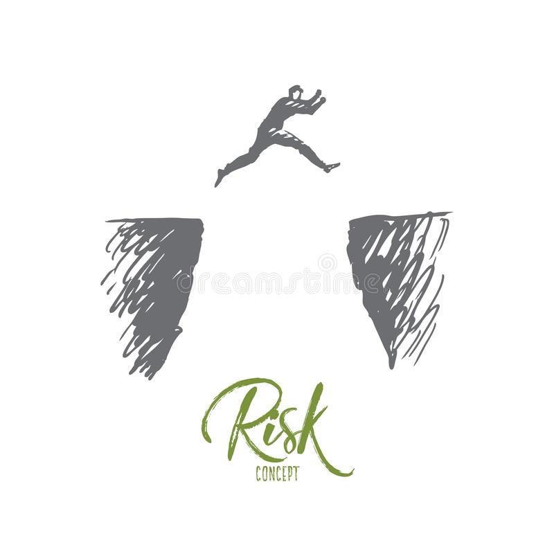 Ryzyko, niebezpieczeństwo, biznes, wyzwanie, osoby pojęcie Ręka rysujący odosobniony wektor ilustracji