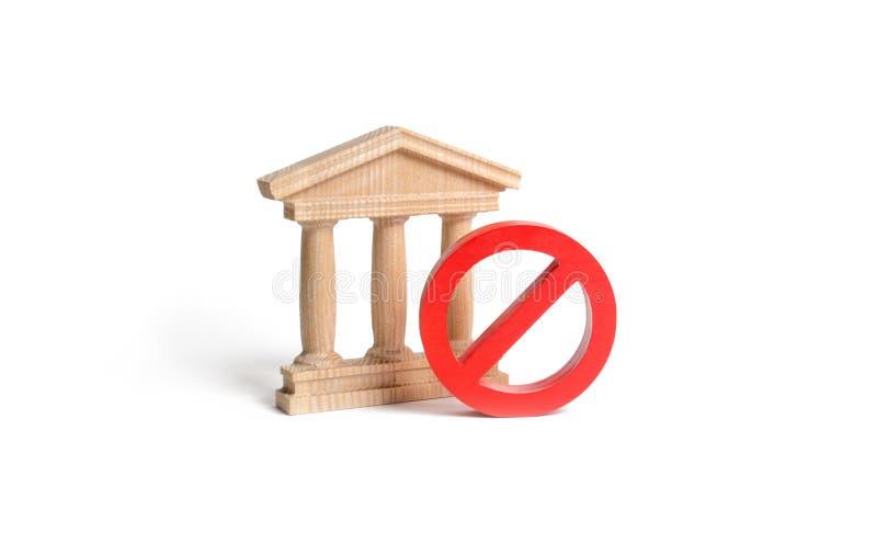 Rządowy budynek, bank lub symbol na odosobnionym tle NIE Pojęcie zabraniać i ograniczający prawa zakazy obraz stock