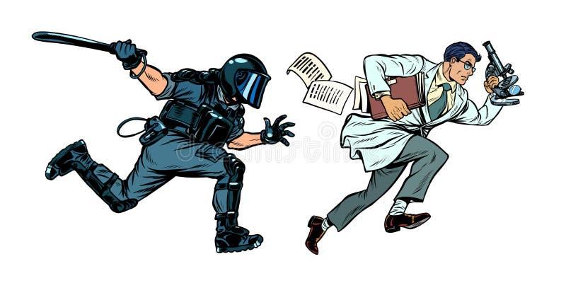 Rząd jest przeciw nauce policja do ochrony porządku publicznego z batutą royalty ilustracja