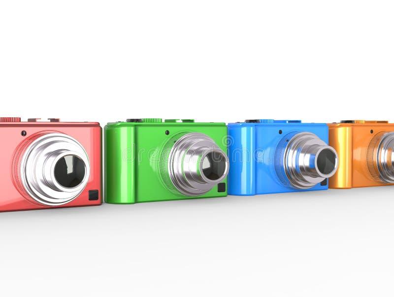Rząd kolorowe nowożytne cyfrowe kamery royalty ilustracja