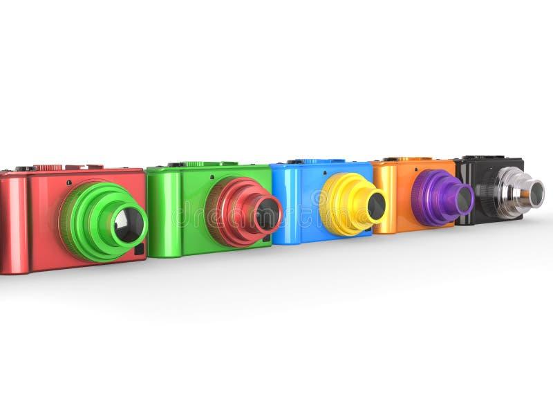 Rząd kolorowe nowożytne cyfrowe kamery z różnymi barwionymi obiektywami ilustracji