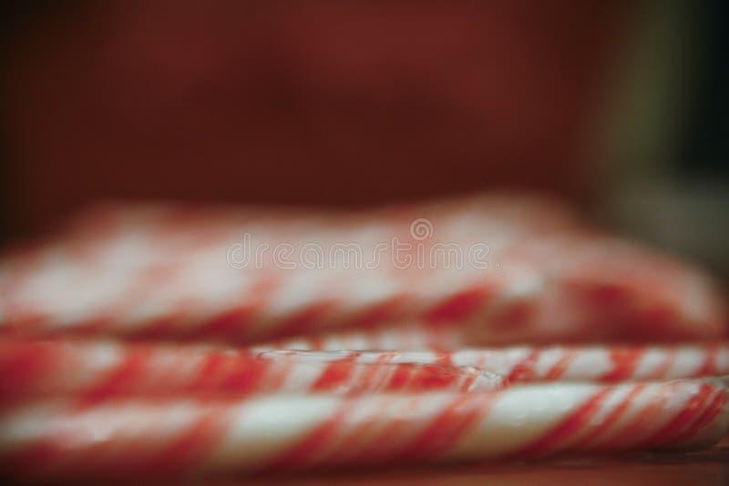 Rząd miętówka Wtyka cukierek trzciny obraz stock