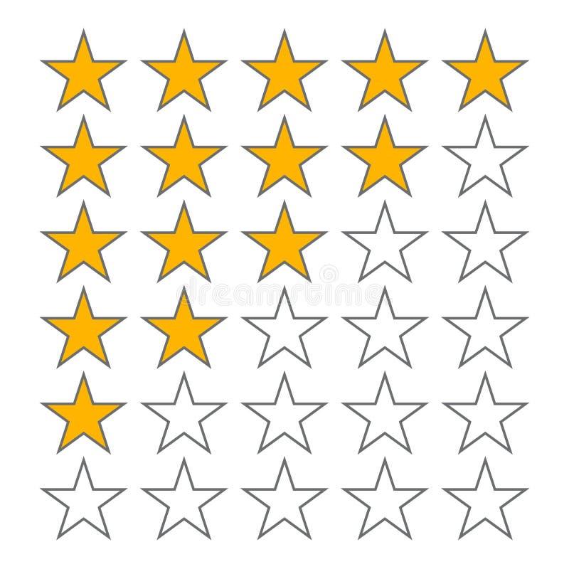 Rząd pięć gwiazd tempo 5 gwiazdowych ratingowych wektorowych ikon odizolowywających na białym tle royalty ilustracja