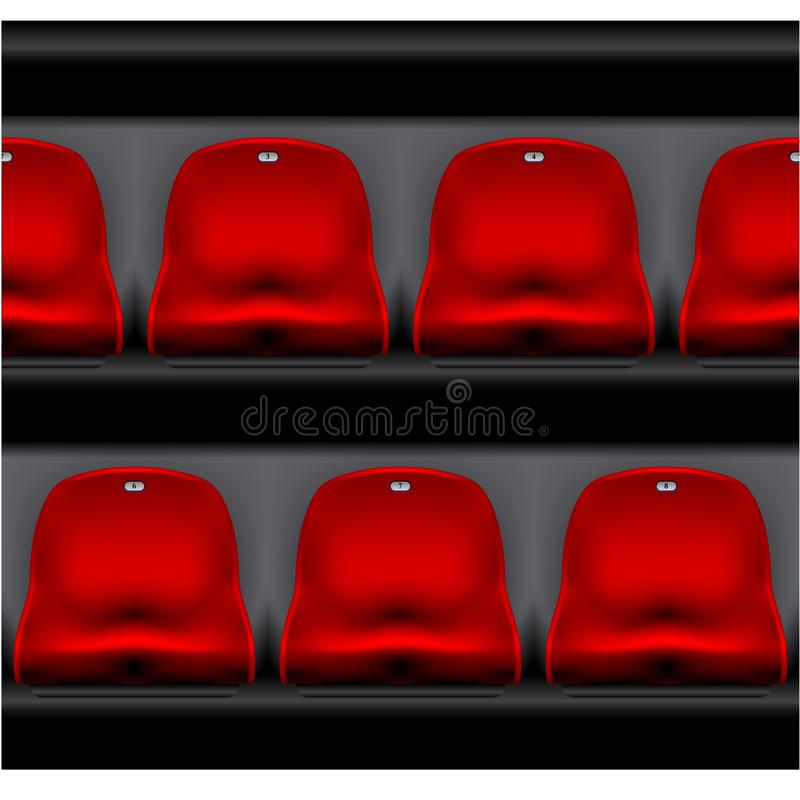 Rząd stadium miejsca siedzące - sport arena, czerwoni klingerytów krzesła royalty ilustracja