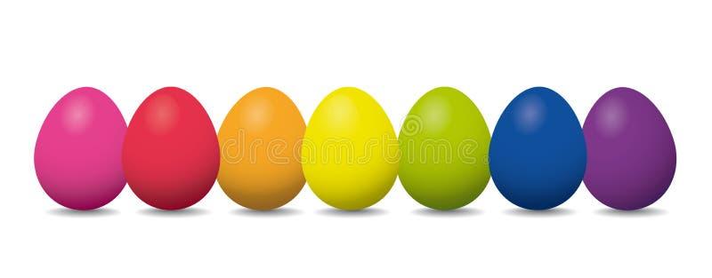 Rząd Wielkanocni jajka z tęcza kolorami royalty ilustracja