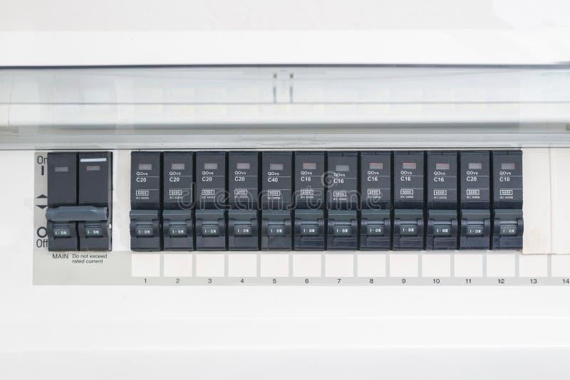 Rząd wyłaczający z gospodarstwo domowe elektrycznego obwodu łamaczy na ściennym panelu zdjęcie royalty free