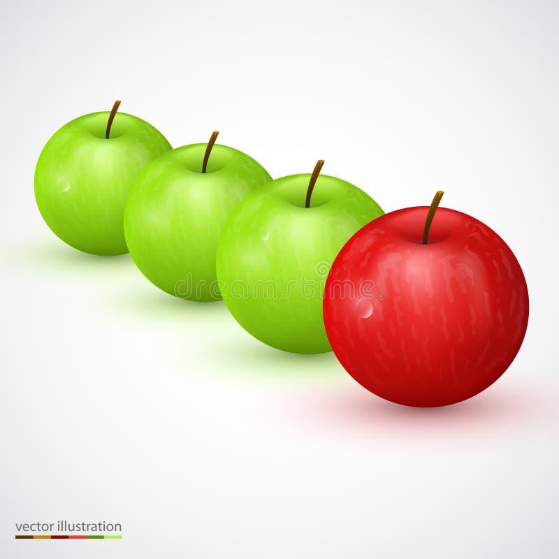 Rząd zielony jabłko z czerwoną magistralą jeden ilustracji
