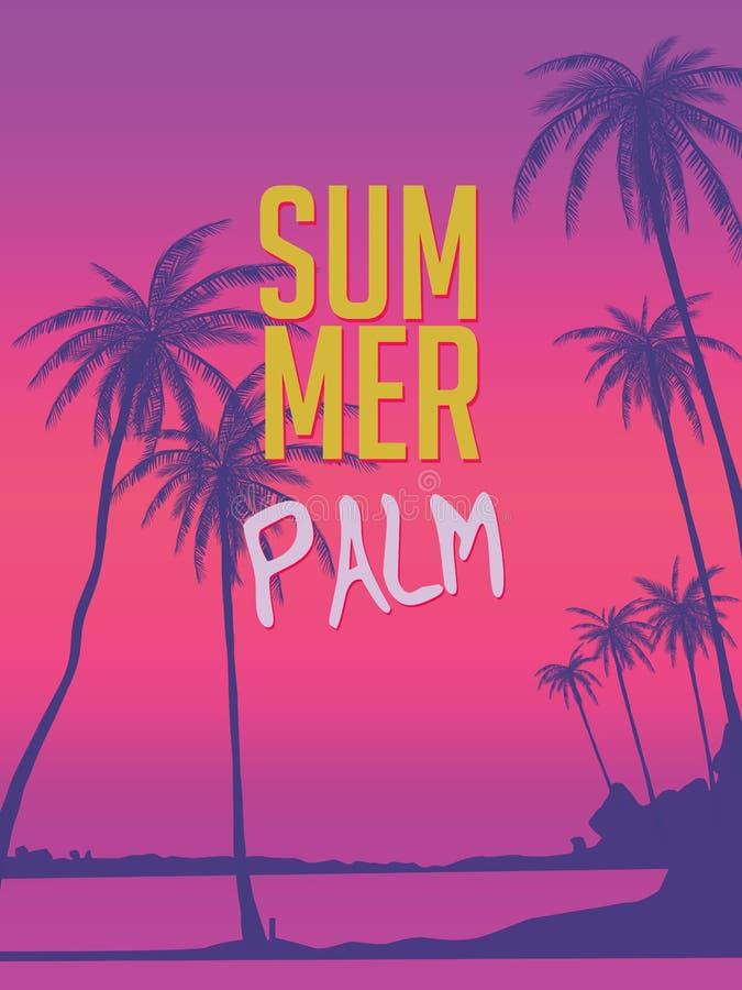 Rząd zwrotników drzewka palmowe przeciw zmierzchu niebu Sylwetka wysocy drzewka palmowe Zwrotnika wieczór krajobraz Gradientowy k royalty ilustracja