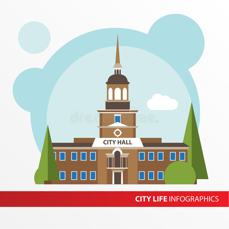 Rządowa budynek ikona w płaskim stylu columned budynku sali Hungary miasta Pojęcie dla miasta infographic ilustracja wektor