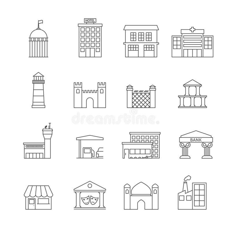 Rządowe budynek ikony ilustracja wektor