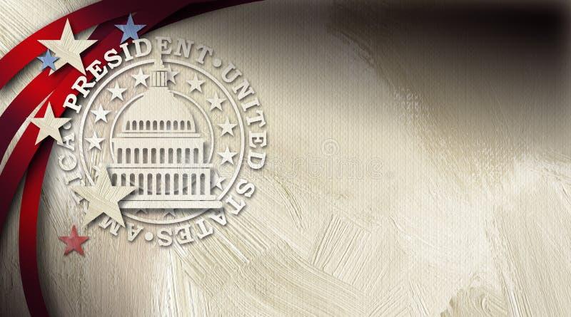 Rządowy Capitol budynek z prezydent foki graficznym abstrakcjonistycznym tłem ilustracji