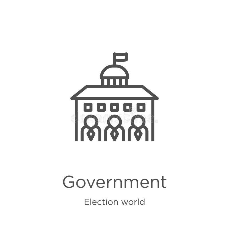 rządowy ikona wektor od wybory światu kolekcji Cienka kreskowa rządowa kontur ikony wektoru ilustracja Kontur, cienieje lini? ilustracja wektor