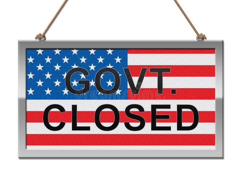 Rządowy zamknięcie znak Znaczy Ameryka Zamykającego senatem Lub prezydentem ilustracja wektor