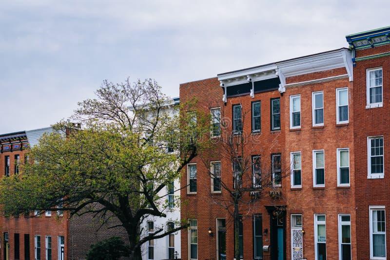 Rzędów domy wzdłuż Patterson Park Avenue w Baltimore, Maryland zdjęcia royalty free