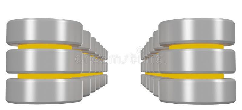 Rzędy bazy danych ikona z żółtych elementów perspektywicznym widokiem ilustracja wektor