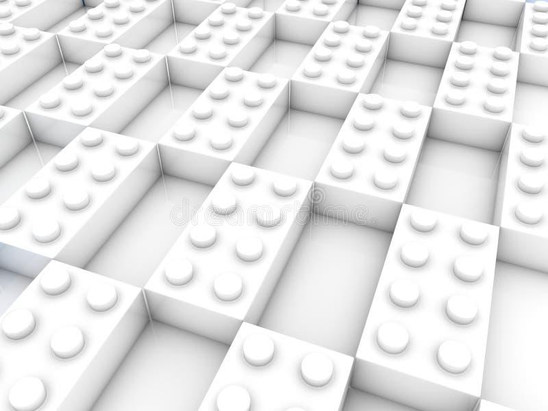 Rzędy biel zabawki cegły z pustymi przestrzeniami ilustracja 3 d ilustracja wektor