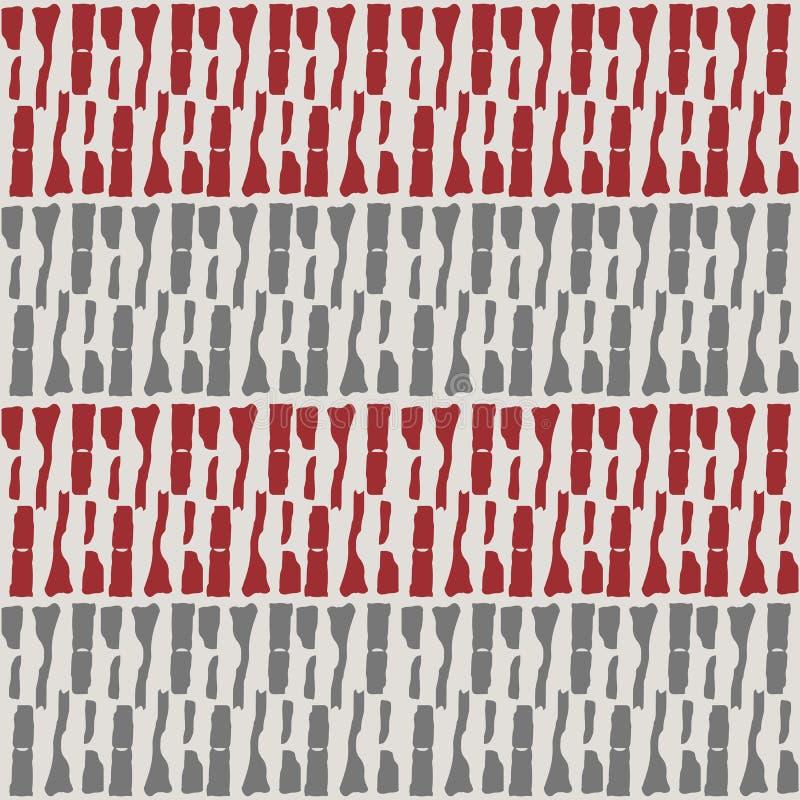 Rzędy plemienny markmaking kształtują w horyzontalnej czerwieni i srebro geometrycznym projekcie Bezszwowy wektor wyplata skutka  royalty ilustracja