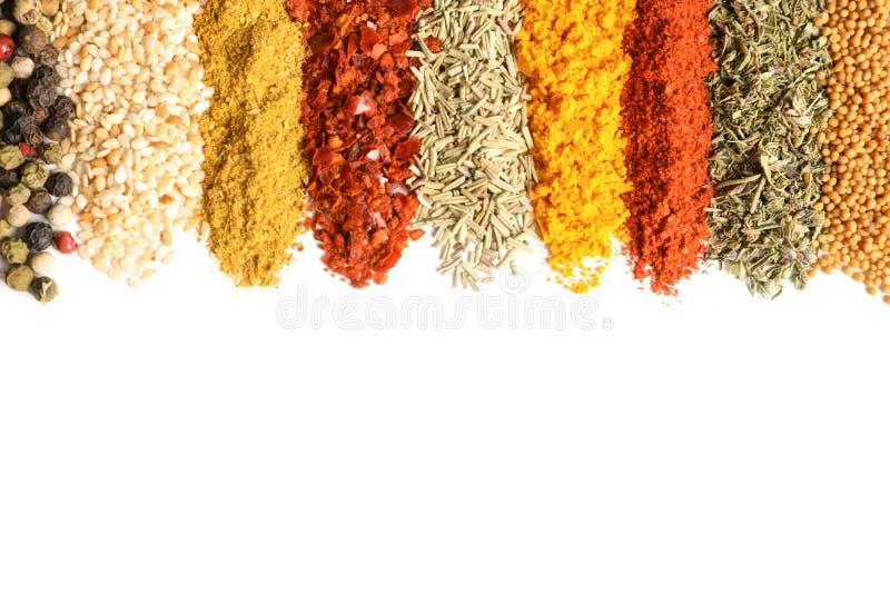Rzędy różne aromatyczne pikantność na białym tle zdjęcia royalty free