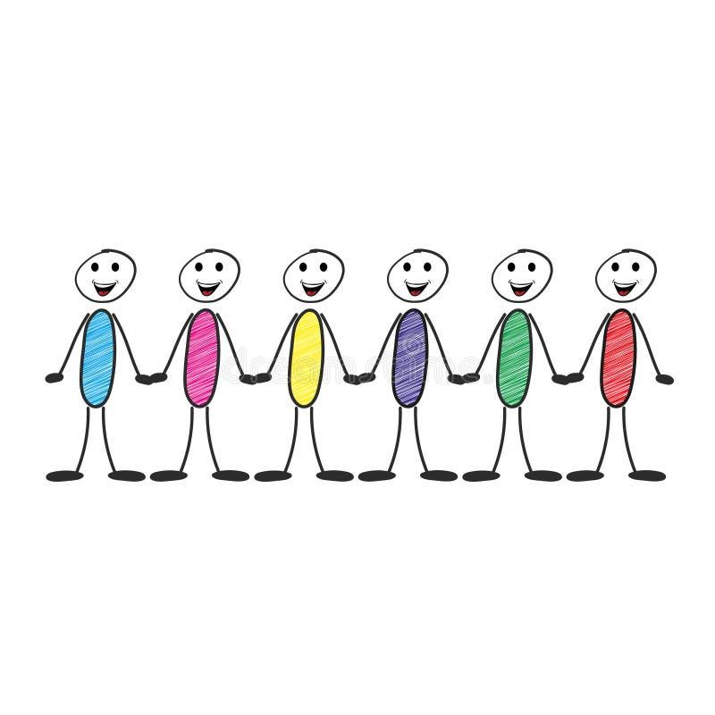 Rzędy różnorodny kij postaci symbol i para chwyta ręki zaludniają ilustracja wektor