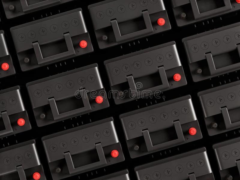 Rzędy 12V samochodowe baterie ilustracji