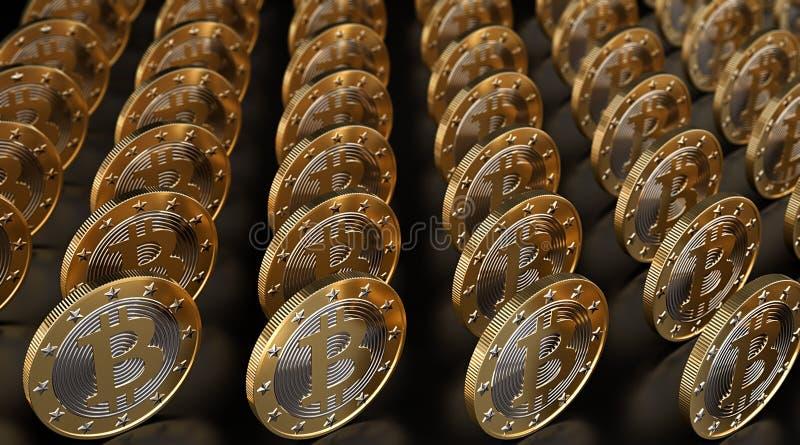 Rzędy złoty Bitcoins na glansowanym czarnym metrze obraz royalty free